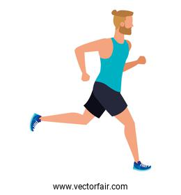 young athletic man running character