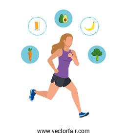 young athletic woman running with healthy icons
