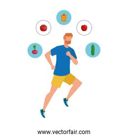 young athletic man running with healthy food