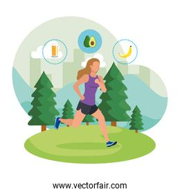 athletic woman running in the landscape with healthy icons