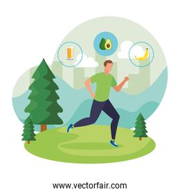 athletic man running in the landscape with healthy food