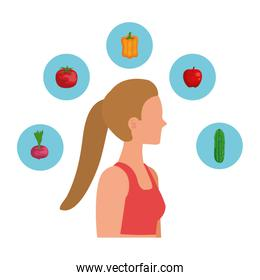 young sport woman with healthy food