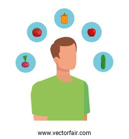 young man with healthy food icons