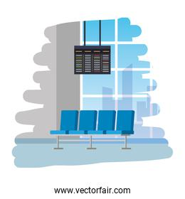 airport waiting room place with chairs and monitor