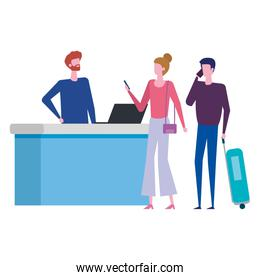 man working in airport with couple travelers