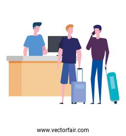 man working in airport with men travelers