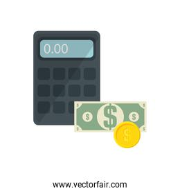 calculator and money icons