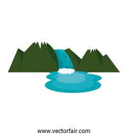 mountains with waterfall scene