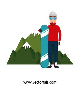 snowboarder man with mountains character