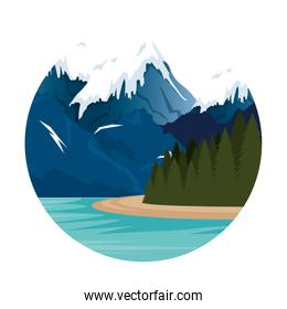 mountains with snow and river scene