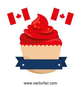 sweet cupcake with canadian flags