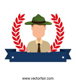 Canadian Ranger with ribbon frame avatar character