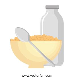 cereal dish with spoon and bottle milk