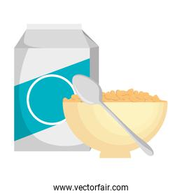 cereal with milk and dish