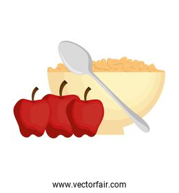 cereal dish with spoon and apples