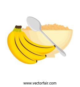 cereal dish with bananas clusters