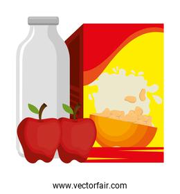 cereal box with milk bottle and apple