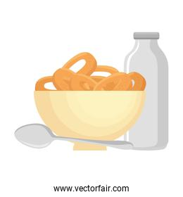 cereal dish with spoon and milk bottle icons