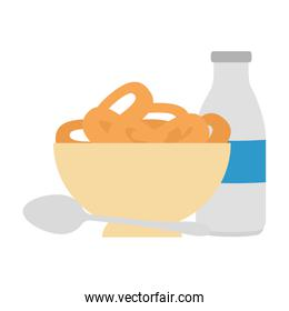 cereal dish with spoon and milk bottle