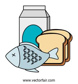 delicious fish meat with bread and milk