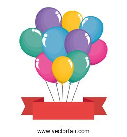 balloons helium floating with ribbon