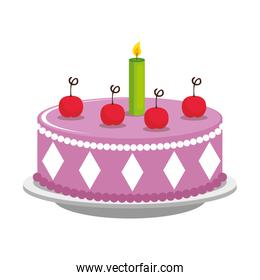 sweet and delicious cake with candles