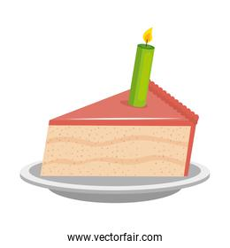 sweet and delicious cake portion with candle