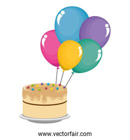 sweet and delicious cake with colors balloons helium