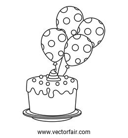 sweet and delicious cake with balloons helium
