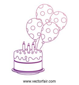 delicious cake with candles and balloons helium