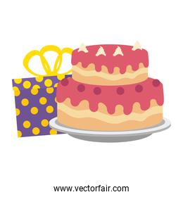 sweet and delicious cake with gifts presents