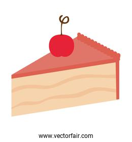 sweet and delicious cake portion with cherry