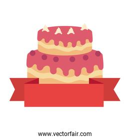 sweet and delicious cake with ribbon