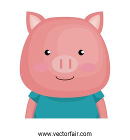 cute pig character icon