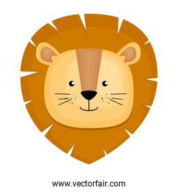 cute lion head character icon