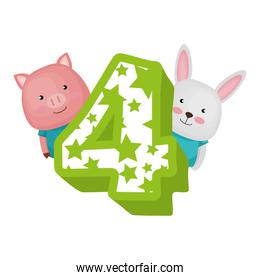cute number four with pig and rabbit