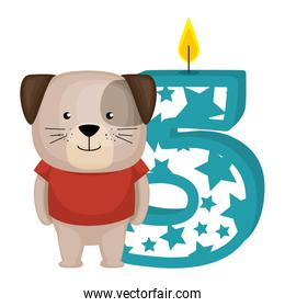 cute number five candle with dog character