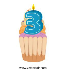 sweet cupcake with candle number three