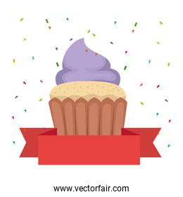 sweet cupcake pastry with ribbon