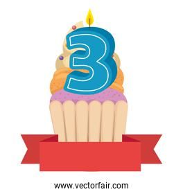 sweet cupcake with candle number three and ribbon