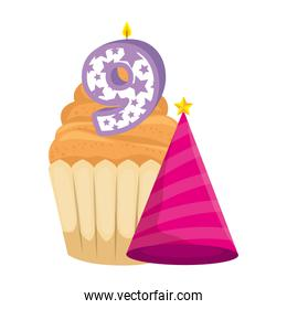 sweet cupcake with candle number nine and hat