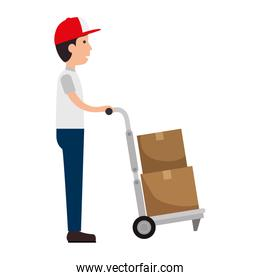 delivery worker with cart avatar character