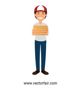 delivery worker with pizza boxes avatar character