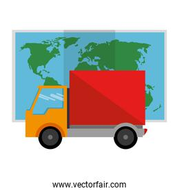 delivery truck with paper map