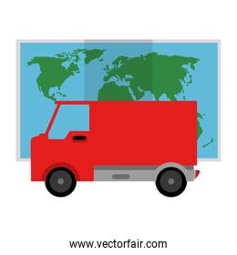 delivery van with paper map