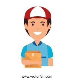 delivery worker with box avatar character