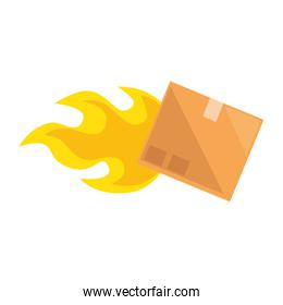 packing box carton with flame