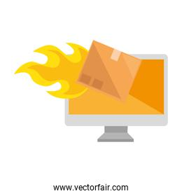 packing box carton with flame in computer