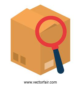 packing box carton with magnifying glass