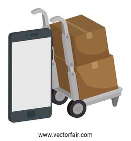 smartphone with delivery cart